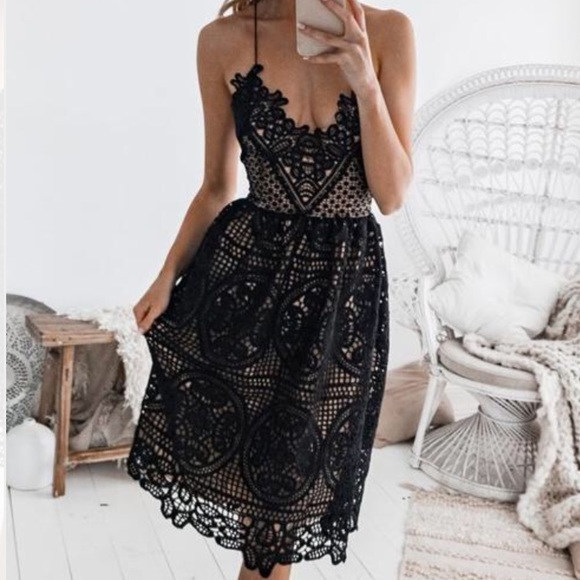 a2ad3ae6a6ee Dresses | Black Tan Lace Design Cocktail Dress Size Med | Poshmark